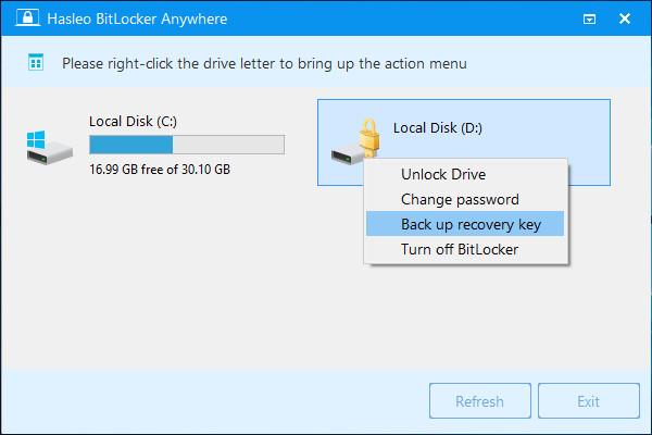 windows 7 backup bitlocker recovery key
