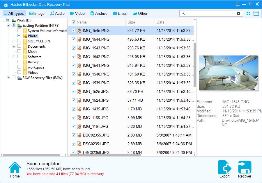 Hasleo BitLocker Data Recovery full screenshot