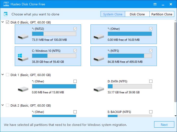 Windows遷移自動選擇分區
