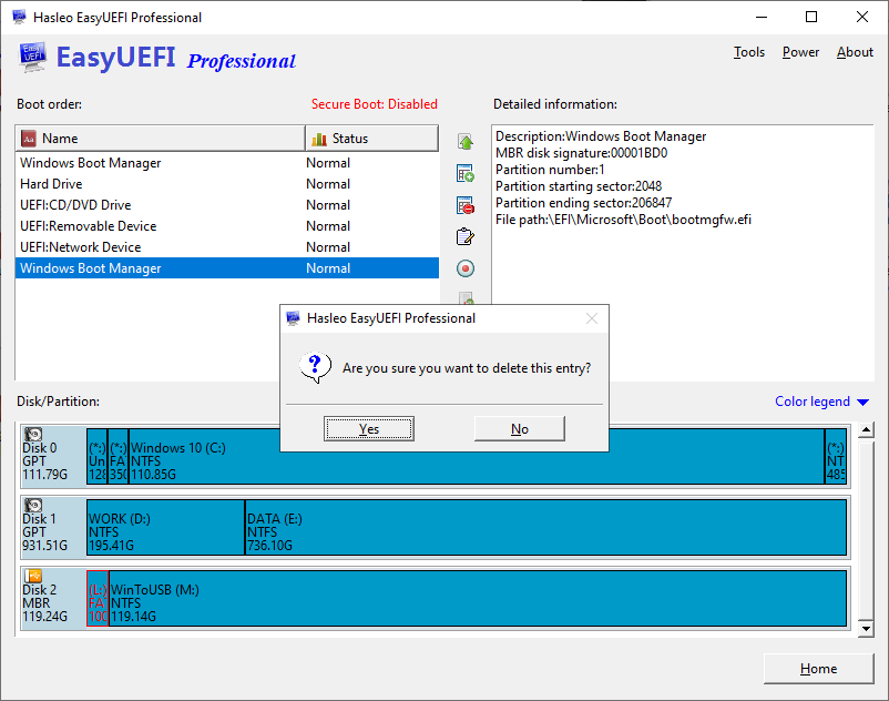 remove UEFI boot entry