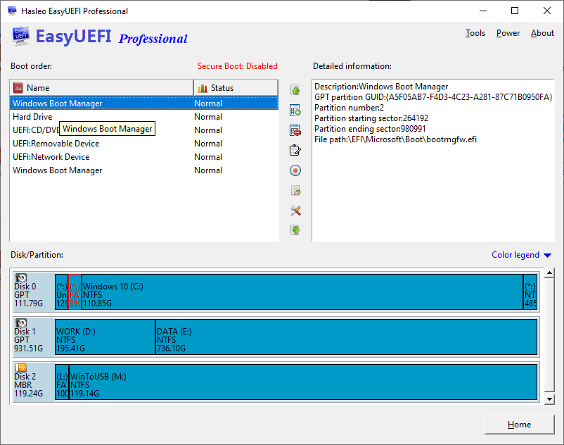 Manage EFI/UEFI boot options & Manage EFI System Partitions