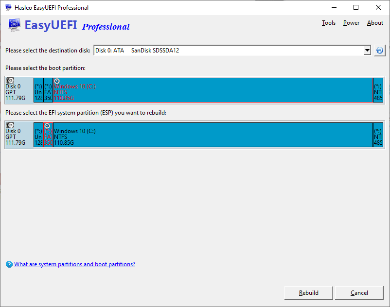 How to rebuild the EFI System Partitions? - EasyUEFI