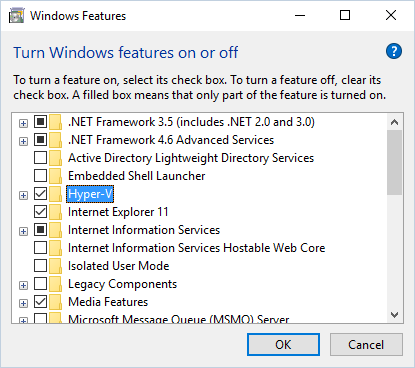 Enable Hyper-V Role
