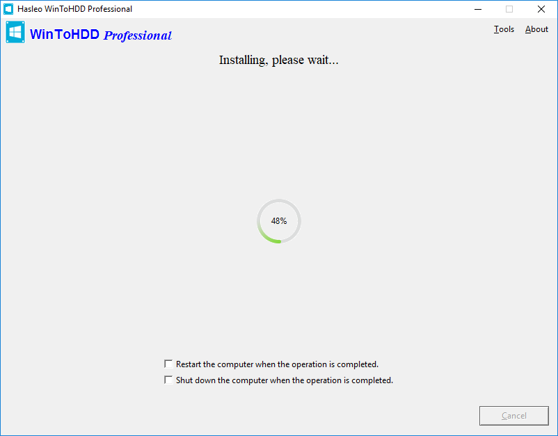 Installing Windows icon