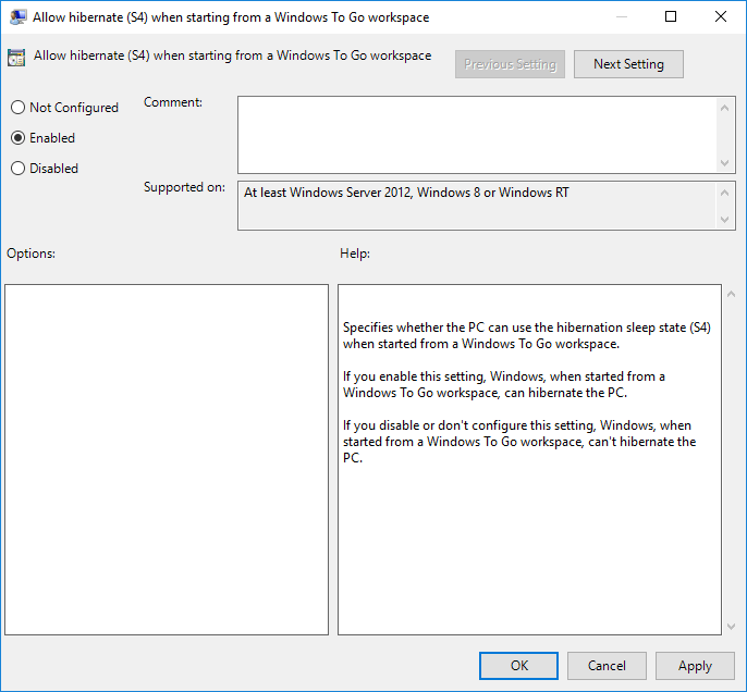 How to enable or disable hibernate in windows to go workspace gpedit enable or disable hibernate ccuart Images