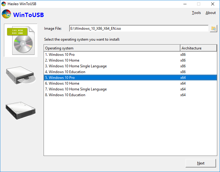 How to install Windows to USB from an ISO, WIM/ESD/SWM/VHD